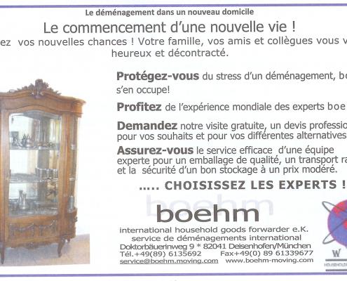 Boehm - déménagement